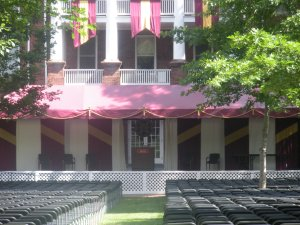Graduation Stage outside of West Residence Hall